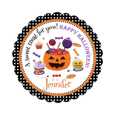 Halloween Sweets-Candies Custom Printable 2.5'' Tags-Personalized Happy Halloween 2.5 inches Tags- Party Favor DIY Stickers - Tags -Digital file