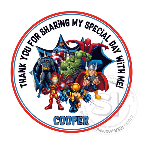 Custom Order for  Gill - Superheroes Thank you Tag- style B