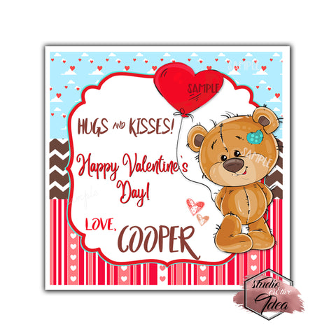 "Valentine's day Custom Printable Tags- 2.5"" Tags-Happy Valentine's Day Personalized 2.5 inches Tags- Stickers DIY Favor Tags- Teddy Bear -Heart Balloon Valentines tags"