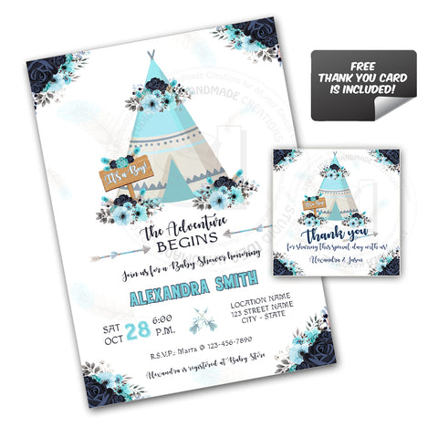 Teepee Boy Baby Shower Party Printable Invitation with FREE Thank you Tag-DIY Digital File-Tepee Baby Shower Invitation -You Print