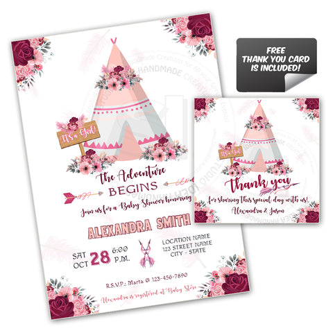 photograph relating to Printable Girl Baby Shower Invitations named Teepee Lady Little one Shower Occasion Printable Invitation with Cost-free Thank your self Tag-Do it yourself Electronic Record-Tepee Kid Shower Invitation -By yourself Print