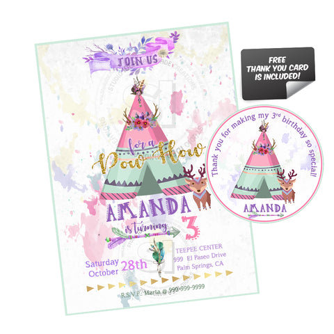 teepee birthday party printable invitation with free thank you tag