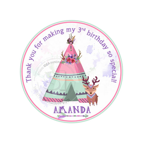 "Custom Printable Teepee tent Theme Birthday Tags - Thank you 2.5"" Tag- DIY Personalized  tags- Digital file"