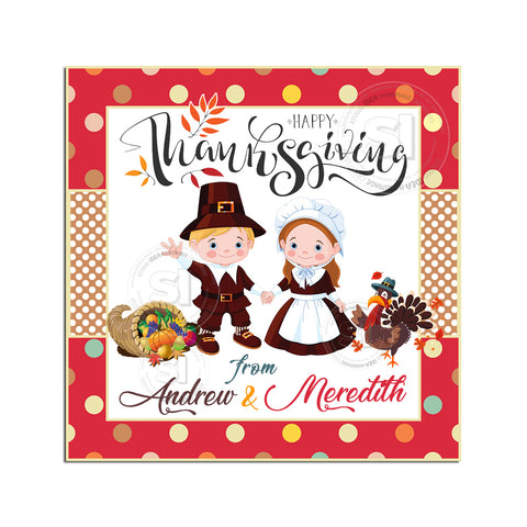 Happy Thanksgiving Custom Printable 2.5'' Square Tags-Personalized Pilgrim Boy and Girl with Turkey Happy Thanksgiving 2.5 inches Tags- Party Favor DIY Stickers - Tags -Digital file