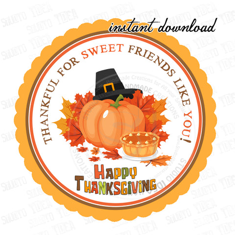 INSTANT DOWNLOAD-Thanksgiving Printable 2.5'' Tags-Happy Thanksgiving 2.5 inches Tags- Party Favor DIY Stickers - Tags -Digital file