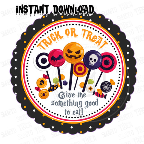 INSTANT DOWNLOAD-Halloween Trick or Treat - Candies-Printable 2.5'' Tags-Happy Halloween 2.5 inches Tags- Party Favor DIY Stickers - Tags -Digital file