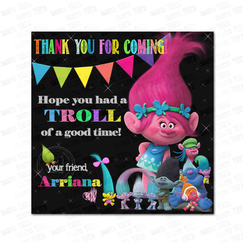 "Custom Trolls Poppy Printable Tags- 2.5"" Tags-Trolls Birthday Thank you Personalized 2.5 inches Tags- Stickers DIY Favor Tags-Trolls Poppy tags"