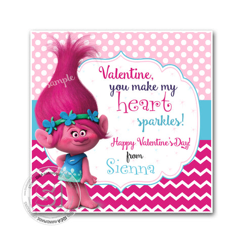 "Valentine's day Custom Printable Tags- 2.5"" Tags-Happy Valentine's Day Personalized 2.5 inches Tags- Stickers DIY Favor Tags-Trolls Valentines tags"