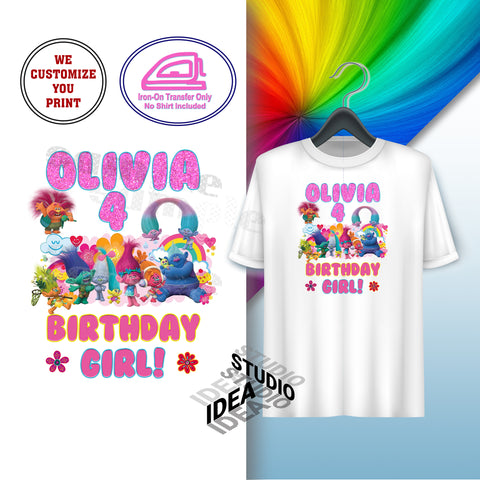 CUSTOMIZED-IRON-ON TRANSFER-BIRTHDAY GIRL- TROLLS Inspired Theme IRON ON Transfer- Birthday Girl Customized Printable file                                 Party T-Shirt prints