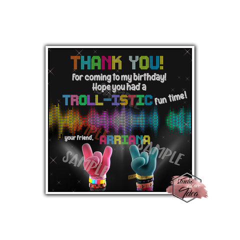 "Custom Trolls World Tour Birthday Thank you Printable 2.5"" Tags-Personalized Trolls 2 Birthday party thank you 2.5 inches Tags-Stickers DIY Birthday Favor Tags"