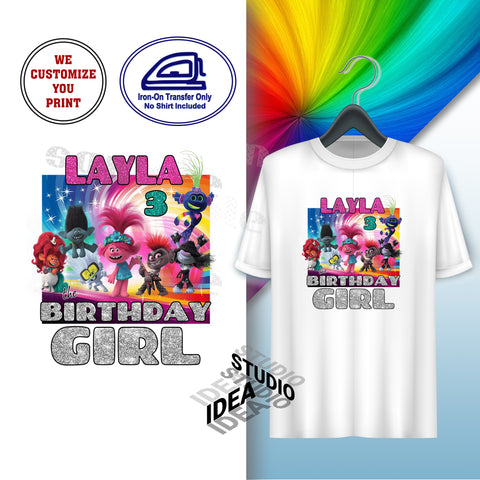 CUSTOMIZED-IRON-ON TRANSFER-BIRTHDAY GIRL- TROLLS 2 World Tour Inspired Theme IRON ON Transfer- Birthday Girl Customized Printable file                                 Party T-Shirt prints