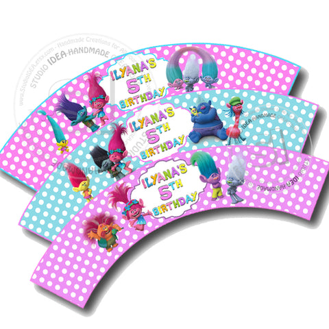 Trolls Customized Printable Cupcake Wrappers - Personalized Trolls Liners- YOU PRINT - Digital File