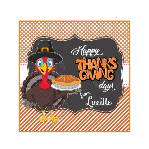 Thanksgiving Custom Printable 2.5'' Square Tags-Personalized Turkey Happy Thanksgiving 2.5 inches Tags- Party Favor DIY Stickers - Tags -Digital file