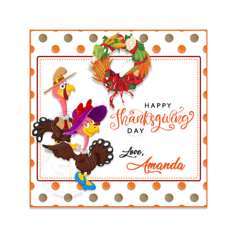 Happy Thanksgiving Day-Funny Turkey Custom Printable 2.5'' Tags-Personalized Thanksgiving 2.5 inches square Tags- Party Favor DIY Stickers - Tags -Digital file