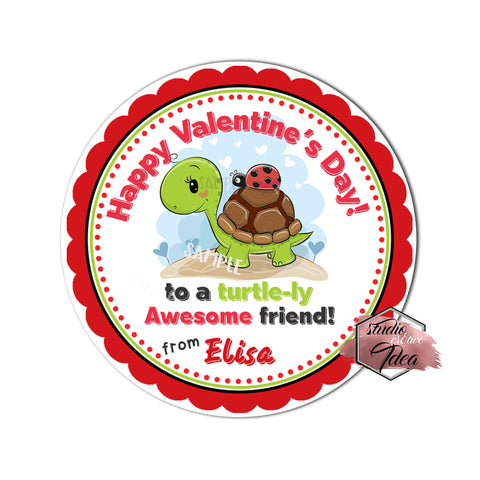 "Valentine's day Custom Printable Tags- 2.5"" Tags-Happy Valentine's Day Personalized 2.5 inches Tags- Stickers DIY Favor Tags-Turtle love- Valentines tag"