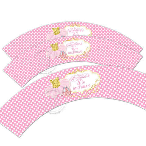 photo about Printable Cupcake Wrappers called Tutu Ballerina Tailored Printable Cupcake Wrappers - Tailored Liners- Yourself PRINT - Electronic Record