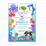 Under the Sea Adventure Party Printable Invitation with FREE Thank you Tag-DIY Digital File-Colorful Sea Theme Birthday Invitation -You Print