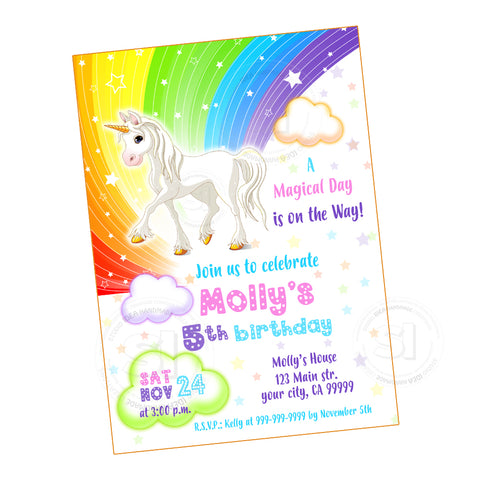 Unicorn Rainbow Magical Birthday Party Printable Invitation With FREE Thank You Card DIY Digital