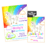Unicorn-Rainbow Magical Birthday Party Printable Invitation with FREE Thank you Card-DIY Digital File-Unicorn-Rainbow-Magical Birthday Invitation -You Print