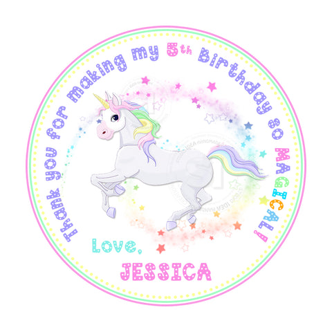 "Unicorn Magical Custom Birthday Printable Tags-2.5"" Tags-Personalized 2.5 inches Unicorn Birthday Thank you Tags- Stickers DIY Favor Tags"