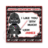 "Valentine's day Custom Printable Tags- 2.5"" Tags-Happy Valentine's Day Personalized 2.5 inches Tags- Stickers DIY Favor Tags-Star Wars Valentines tags"