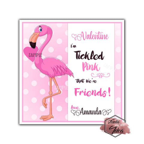 "Flamingo Valentine's day Custom Printable Tags- 2.5"" Tags-Happy Valentine's Day Personalized 2.5 inches Tags- Stickers DIY Favor Tags-cute Valentines tags"