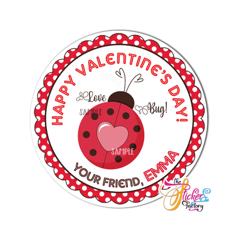 "Valentine's day Custom Printable Tags- 2.5"" Tags-Happy Valentine's Day Personalized 2.5 inches Tags- Stickers DIY Favor Tags-Ladybug love- Valentines tag"