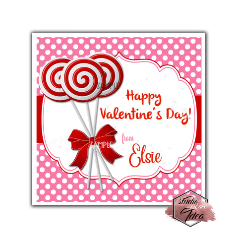 "Valentine's day Custom Printable Tags- 2.5"" Tags-Happy Valentine's Day- Lollipops theme- Personalized 2.5 inches Tags- Stickers DIY Favor Tags-Red white Lollipops Sweet Valentine's tag"