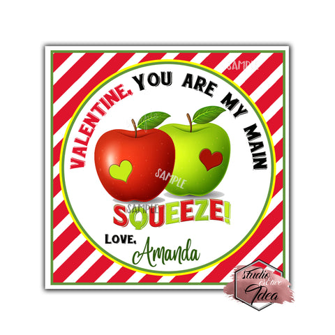 "Valentine's day Custom Printable Tags- 2.5"" Tags-Happy Valentine's Day -Apples Theme Personalized 2.5 inches Tags- Stickers DIY Favor Tags-Funny Valentines tags"