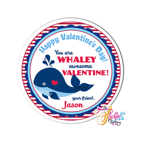 "Whale Valentine - Happy Valentine's day Custom Printable Tags- 2.5"" Tags-Happy Valentine's Day Personalized 2.5 inches Tags- Stickers DIY Favor Tags"