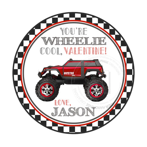 "Wheelie Valentine's day Custom Printable Tags- 2.5"" Tags-Happy Valentine's Day-Personalized 2.5 inches Tags- Stickers DIY Favor Tags-Monster truck Valentine's tag"