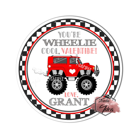 "Wheelie Valentine's day Custom Printable Tags- 2.5"" Tags-Happy Valentine's Day- Personalized 2.5 inches Tags- Stickers DIY Favor Tags-Monster truck Valentine's tag"