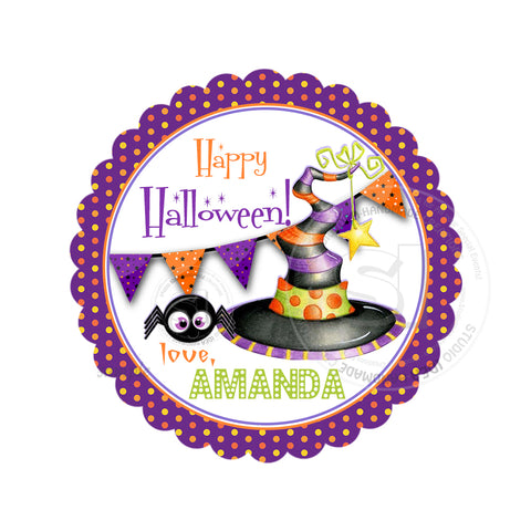 Halloween  Custom Printable 2.5'' Tags-Personalized Witch Hat Happy Halloween 2.5 inches Tags- Party Favor DIY Stickers - Tags -Digital file