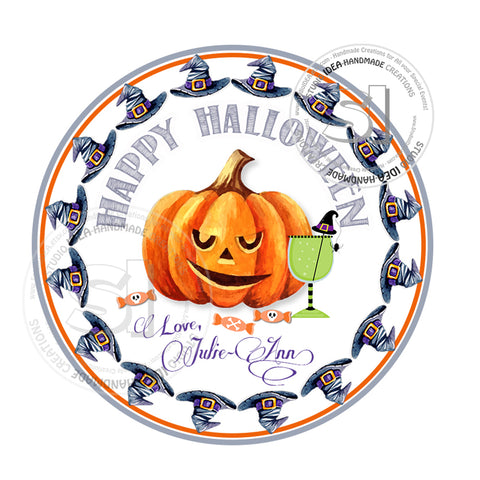 Happy Halloween  Custom Printable 2.5'' Tags-Personalized Halloween-Witch hats-pumpkin- 2.5 inches Tags- Party Favor DIY Stickers - Tags -Digital file