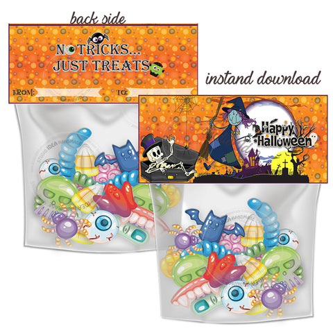 INSTANT DOWNLOAD-Happy Halloween Witch Printable Bag Toppers-Trick or Treat Halloween Candies Bag tag-Party Favor DIY Tags-2 sided sweets bag topper