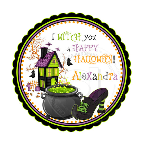graphic relating to Halloween Stickers Printable known as Halloween Witch Personalized Printable 2.5 Tags-Customized Delighted Halloween 2.5 inches Tags- Social gathering Desire Do-it-yourself Stickers - Tags -Electronic record