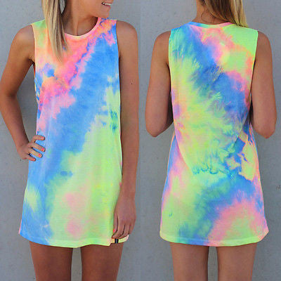 Full Set Tie Dye Mini Dress