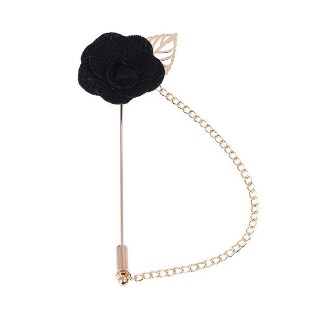 Small Flower Pin with chain and Gold feather