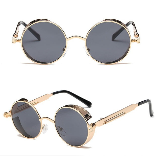 Retro Gold and Black Sunglasses