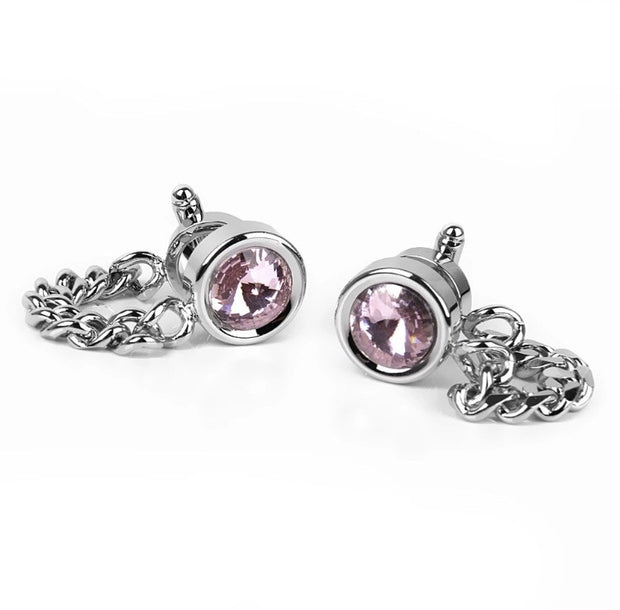 Silver, pink stoned chain Cufflinks