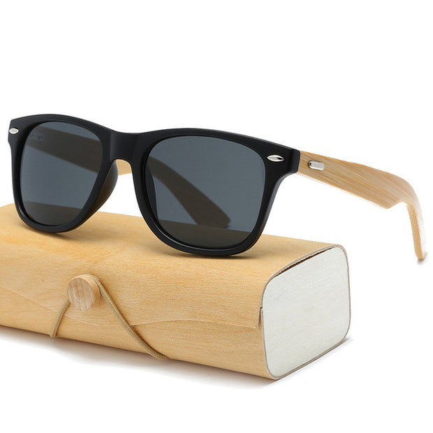 Wooden sun glasses with wooden case