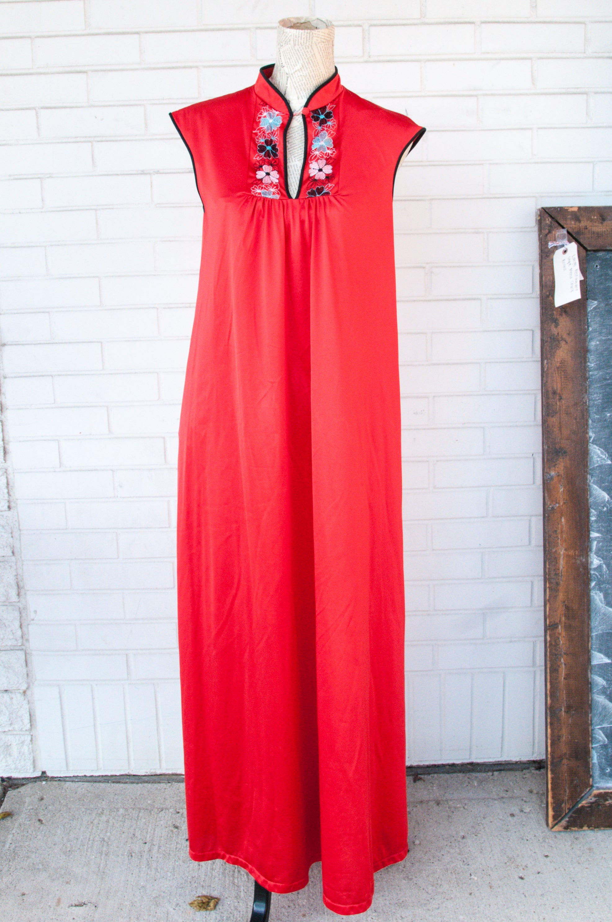 Red Nightgown with Embroidered Collar - Vintage 42 Boutique. Red Nightgown  with Embroidered Collar - Vintage 42 Boutique 41df44d11