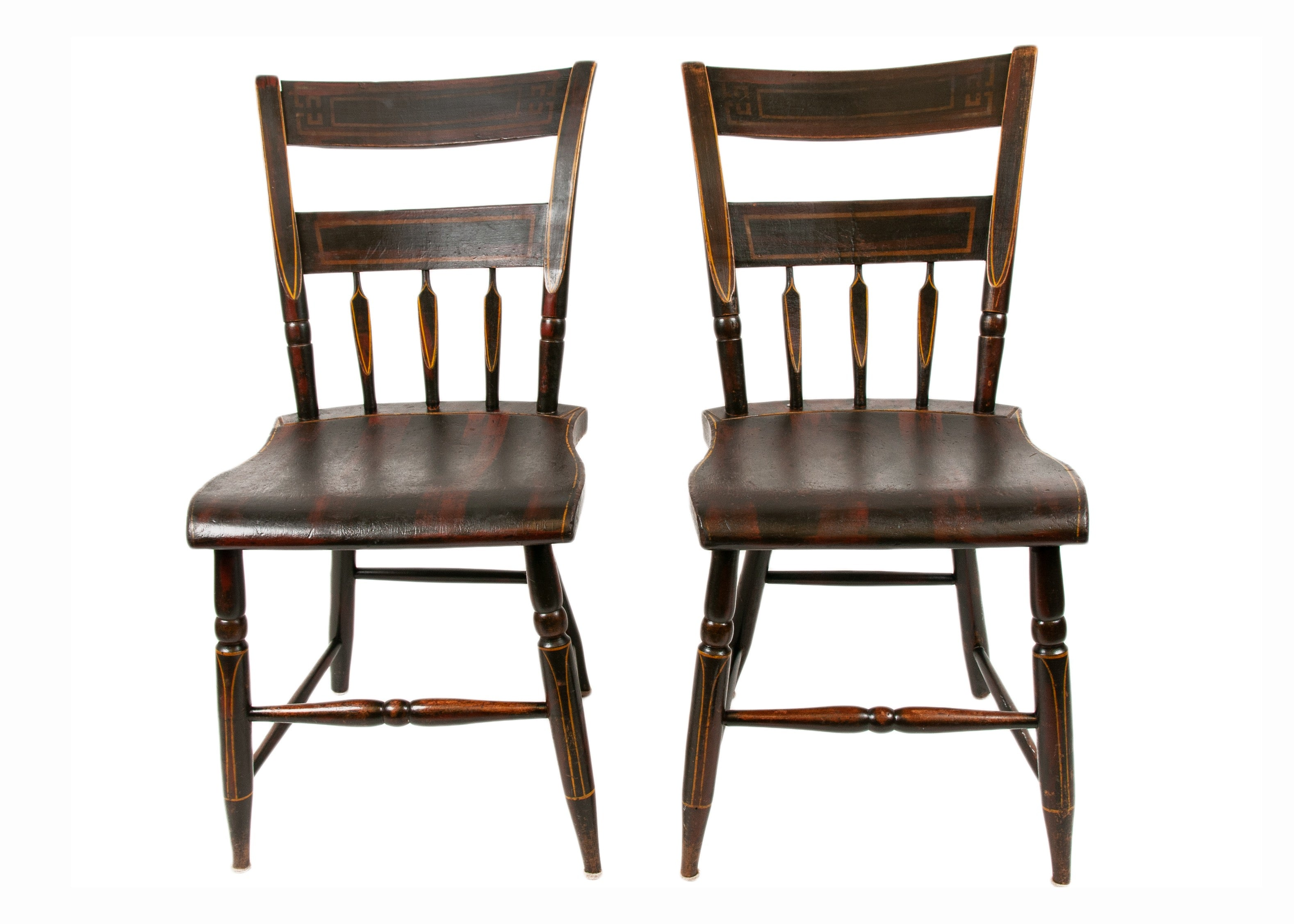 Antique Painted Hitchcock School Chairs With Plank Bottom And Ladder