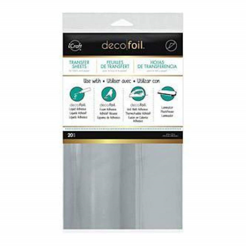Deco Foil Transfer Sheet 6In.X12in. 20 Pack- Silver