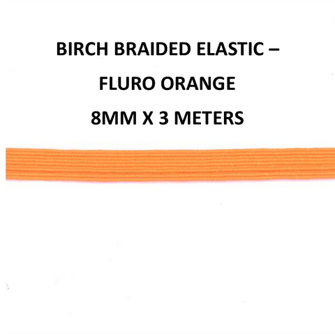 8mm x 3meter Birch Braided Elastic - Fluro Orange