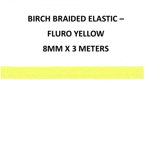 8mm x 3meter Birch Braided Elastic - Fluro Yellow