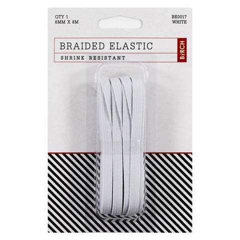 6mm x 8meter Birch Braided Elastic - White