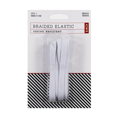8mm x 6meter Birch Braided Elastic - White
