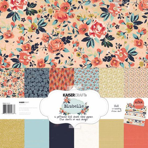 KAISERCRAFT PAPER PACK + BONUS STICKER SHEET - BLU BELLE