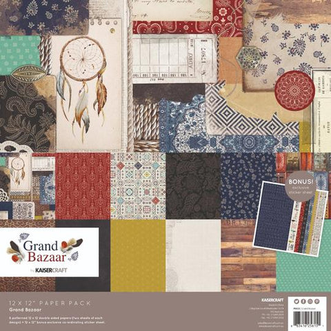 KAISERCRAFT PAPER PACK + BONUS STICKER SHEET - GRAND BAZAAR